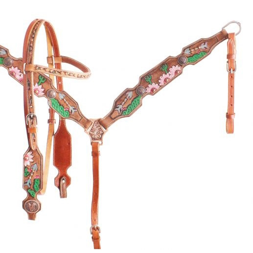 Showman®Hand Painted Cactus & Daisy Bridle & Breastcollar Set