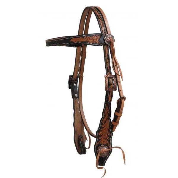 Showman® Black Antique Floral Browband Headstall
