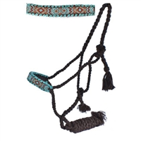 Showman® Brown Mule Tape Halter w/Teal & Gold Bead