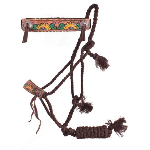 Showman® Brown Mule Tape Halter w/Sunflower & Cactus Noseband
