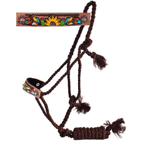Showman® Brown Feather Sunflower & Cactus Mule Tape Halter
