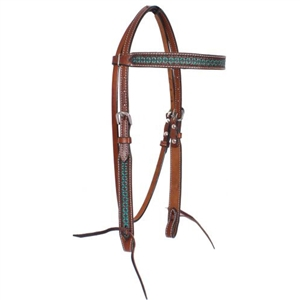 Showman® Turquoise Tooled Browband Headstall