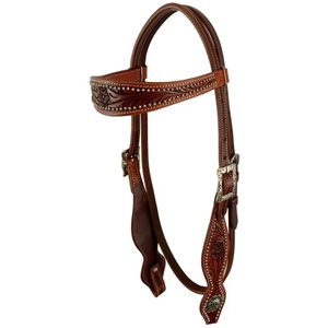 Showman® Browband Headstall w/Tooling & Silver Dots