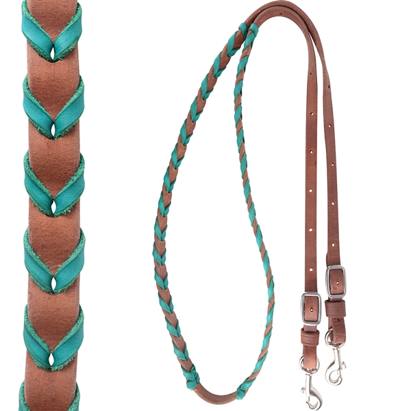 "Martin Saddlery® 3/4"" Turquoise Latigo Laced Barrel Rein"