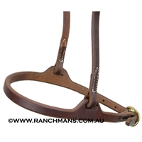 Ranchman's Flat Nose Leather Caveson Noseband-Adjustable