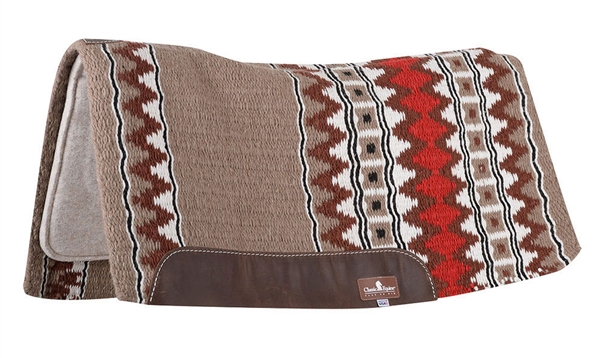 "Classic Equine® ESP™ Extra Sensory Protection Contoured Wool Top Saddle Pad 34"" x 38"" Camel & Red"