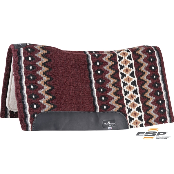 "Classic Equine® ESP™ Extra Sensory Protection Contoured Wool Top Saddle Pad 34"" x 38"" Burgundy & Grey"