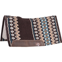 "Classic Equine® ESP™ Extra Sensory Protection Contoured Wool Top Saddle Pad 34"" x 38"" Chocolate & Teal"