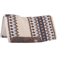 "Classic Equine® ESP™ Extra Sensory Protection Contoured Wool Top Saddle Pad 34"" x 38"" Ivory & Periwinkle"