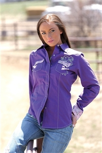 Cruel Girl® Ladies Purple Snap Shirt