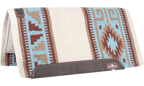 "Classic Equine® Wool Top Saddle Pad 32"" x 34"" Blue & Brown"
