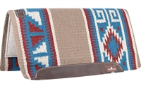 "Classic Equine® Wool Top Saddle Pad 32"" x 34"" Teal & Red"