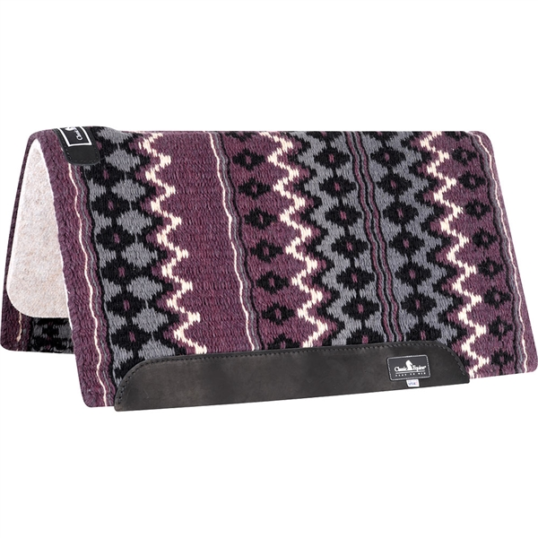"Classic Equine® Wool Top Saddle Pad 32"" x 34"" Aubergine & Charcoal"