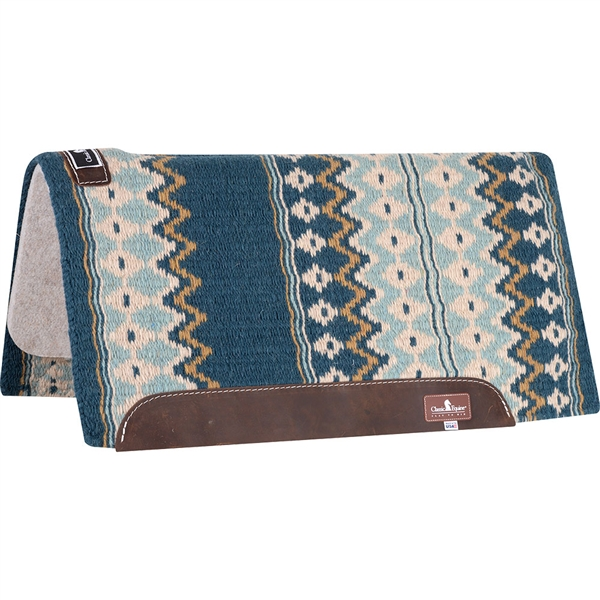 "Classic Equine® Wool Top Saddle Pad 32"" x 34"" Ocean Blue & Sea Foam"