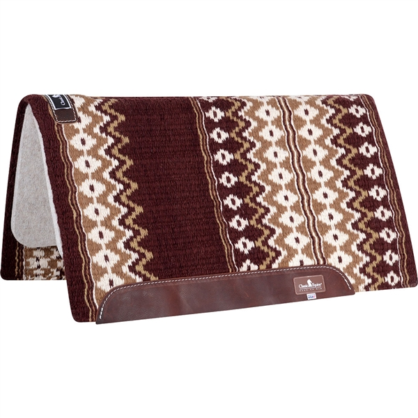"Classic Equine® Wool Top Saddle Pad 34"" x 38"" Burgundy & Tan"
