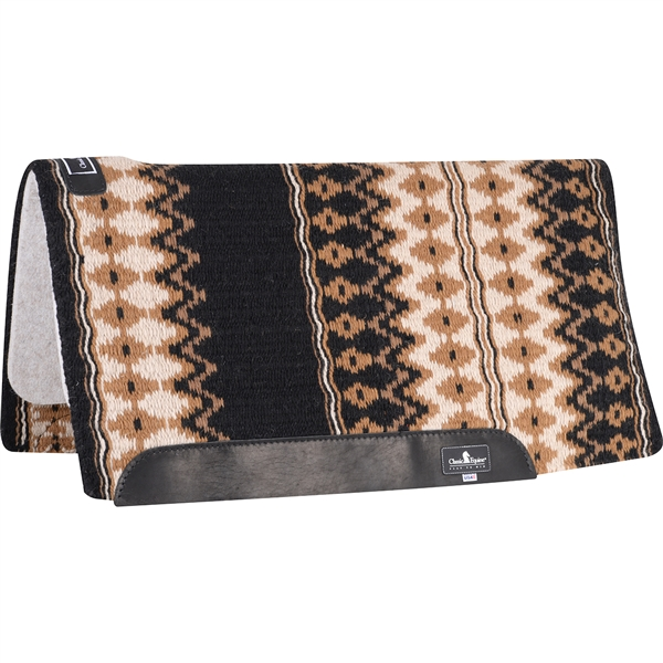 "Classic Equine® Wool Top Saddle Pad 34"" x 38"" Black & Ivory"