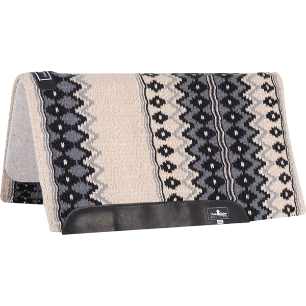 "Classic Equine® Wool Top Saddle Pad 34"" x 38"" Ivory & Charcoal"