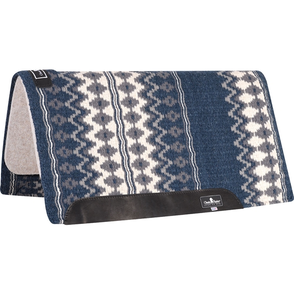 "Classic Equine® Wool Top Saddle Pad 34"" x 38"" Navy & Cream"