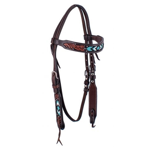 Showman® Dark Brown Beaded Inlay Browband Headstall