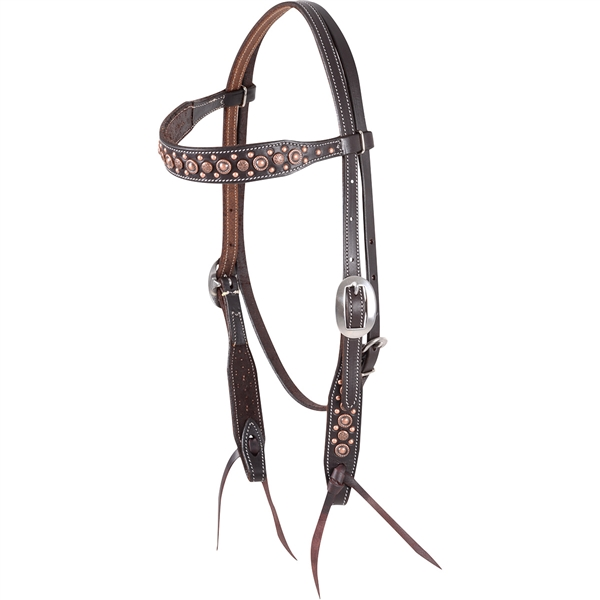 Martin Saddlery© Antiqued Copper Dots Browband Headstall