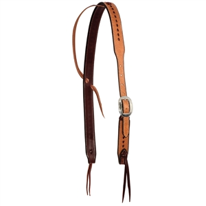 Ranchman's Rough Out Buckstitched Cowboy Knot Slip Ear Headstall