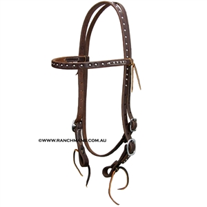 "Ranchman's 5/8"" Harness Leather Browband Bridle w/Dots"