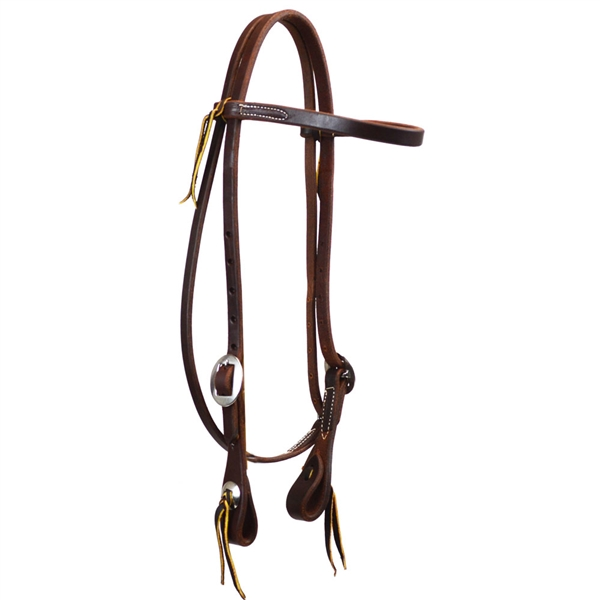 "Ranchman's 5/8"" Harness Leather Browband Headstall w/Cart & Conchos"