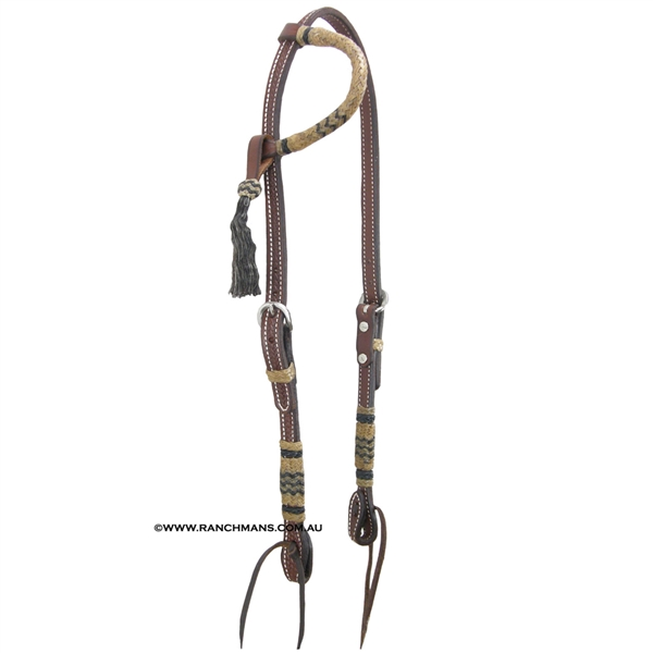 Ranchmans Heavy Oil One Ear Bridle w/Rawhide Trim
