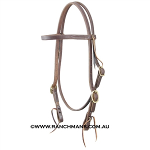 "Ranchman's 5/8"" Harness Leather Browband Headstall with Tie Ends"