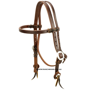 "Ranchman's 3/4"" Harness Leather Browband Quick Change Bridle"