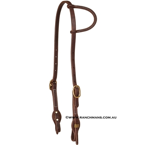 "Ranchman's 5/8"" Sliding One Ear Quick Change Harness Leather Western Bridle"
