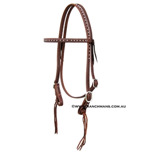 "Ranchman's 5/8"" Browband Dot Bridle w/Pineapple Knots"