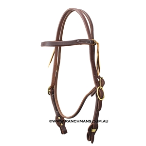 "Ranchman's 5/8"" Harness Leather Browband Quick Change Bridle"