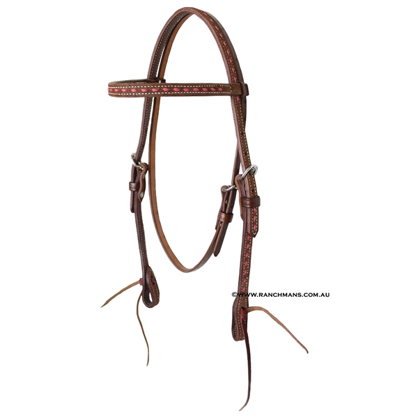Ranchmans Frontier Collection Browband Headstall-Pink Buckstitch