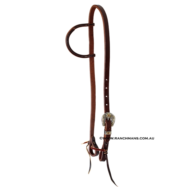 "Ranchmans 5/8"" Gunsmoke Buckle One Ear Headstall"