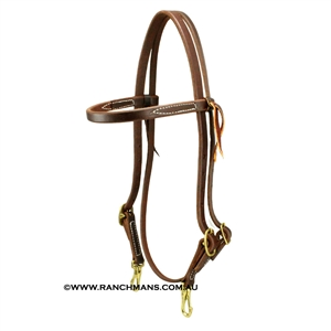 "Ranchman's 5/8"" Harness Leather Browband Headstall w/Brass Snaps"