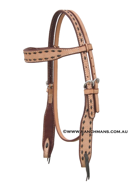 Ranchman's Black Buckstitch Browband Bridle