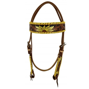 Showman® Hand Painted Sunflowers Browband Headstall