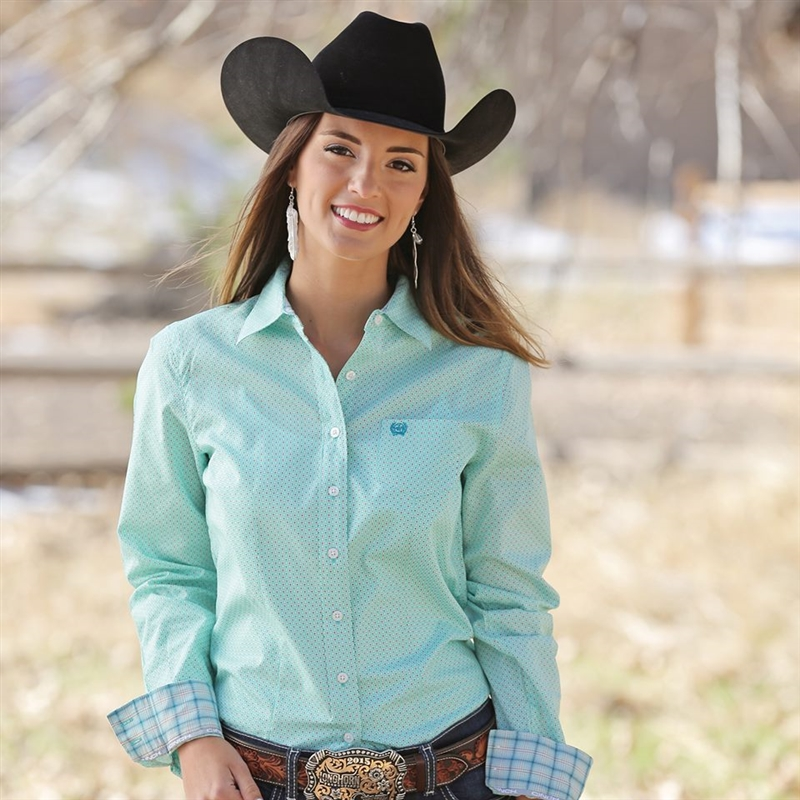 106144e6 Cinch® Ladies Turquoise Long Sleeve Shirt Larger Photo ...
