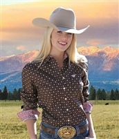 Cinch® Ladies Brown Dot Print Long Sleeve Shirt