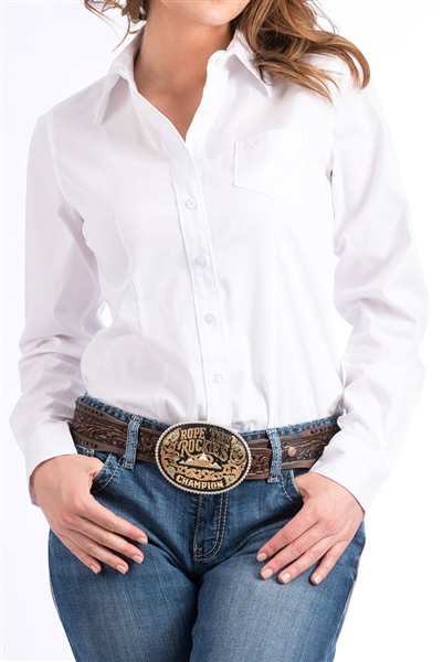 Cinch® Ladies Solid White Button Down Shirt
