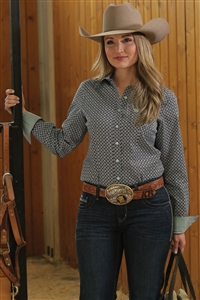 Cinch® Ladies Navy Geo Print Long Sleeve Shirt