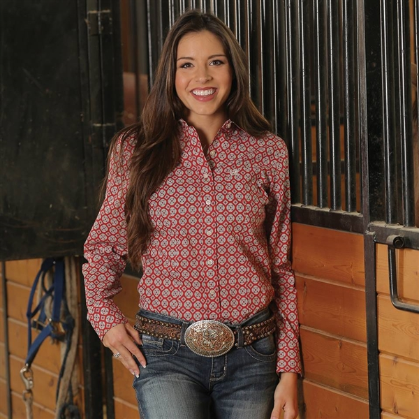 Cinch® Ladies Red Medallion Print Long Sleeve Shirt