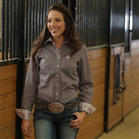 Cinch® Ladies Taupe Geo Print Long Sleeve Shirt