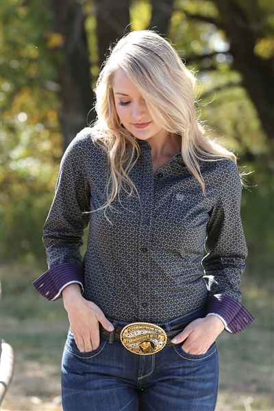Cinch® Ladies Black & Charcoal Long Sleeve Shirt