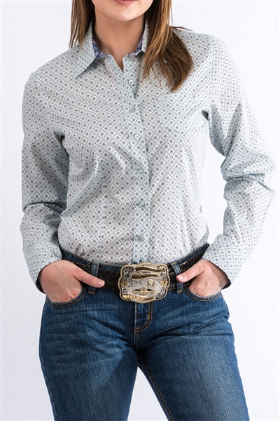 Cinch® Ladies Light Blue Geometric Print Snap Shirt