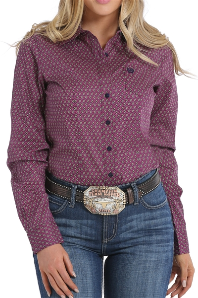 Cinch® Ladies Purple & Lime Geometric Print Shirt