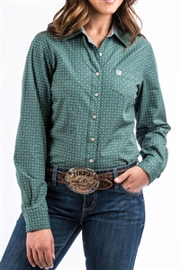 Cinch® Ladies Hunter Green Diamond & Circle Printed  Long Sleeve Shirt
