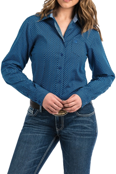 Cinch® Ladies Royal & Black Geometric Print Button-Up Shirt