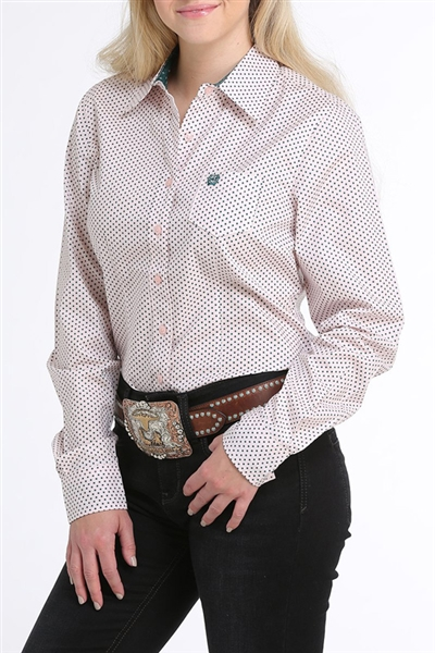 Cinch® Ladies Pink & Teal Dot Print Button-Down Shirt